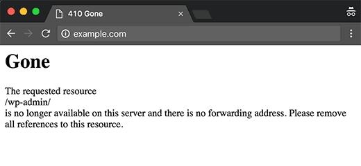 Error 410 en un sitio web