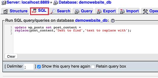 Ejecutando consulta SQL en phpMyAdmin
