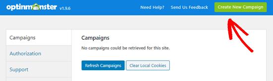 Crea una nueva campaña en OptinMonster