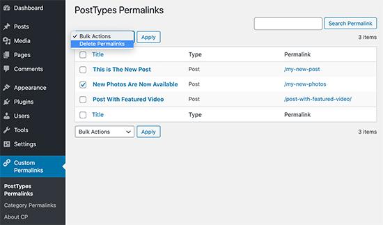 Administra tus enlaces permanentes personalizados