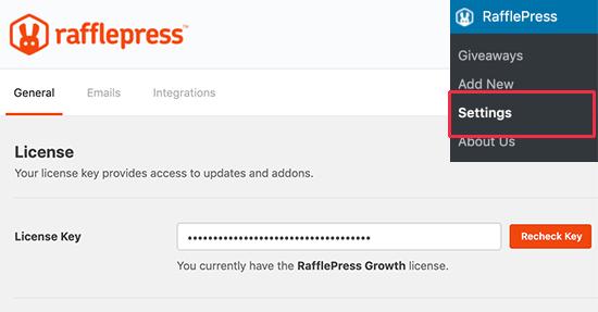 Clave de licencia de RafflePress