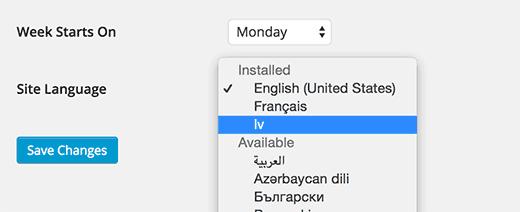 Idiomas instalados