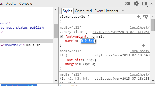 Editar CSS en la herramienta inspeccionar elemento