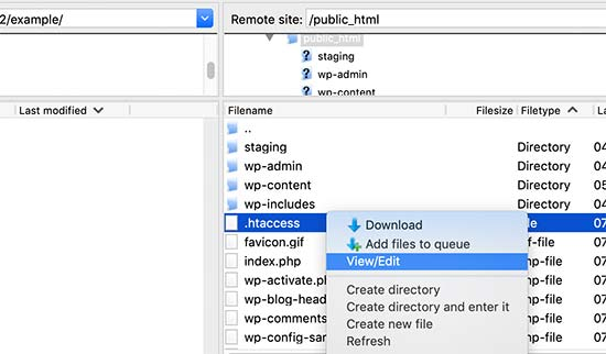 Editar el archivo .htaccess usando FTP