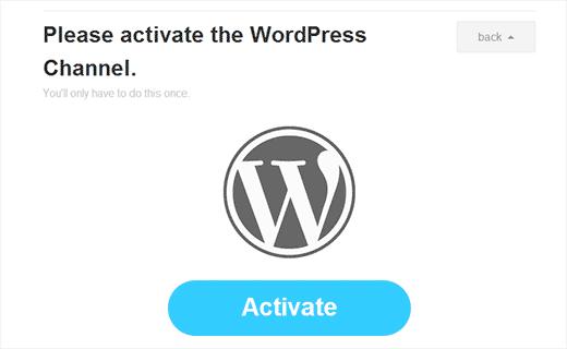 Activar WordPress como canal en IFTTT