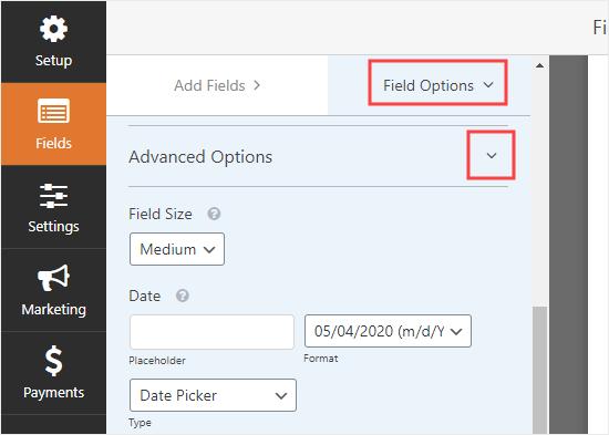 Ver y cambiar las opciones avanzadas para el campo de fecha / hora