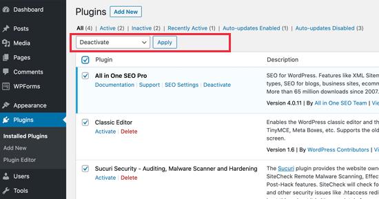Desactivar todo WordPress plugins