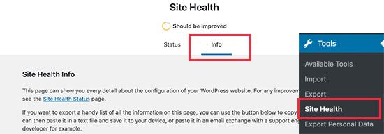 Informe de información del sistema en estado del sitio