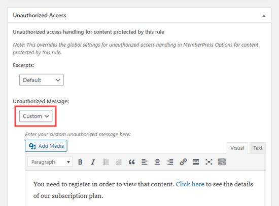 Cambiar el mensaje de acceso no autorizado