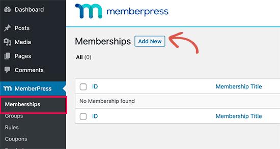 Agregar nueva membresía