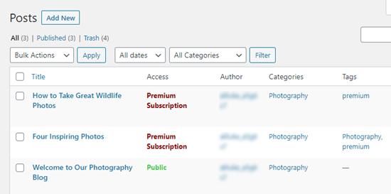 Publicaciones con su nivel de acceso en la lista