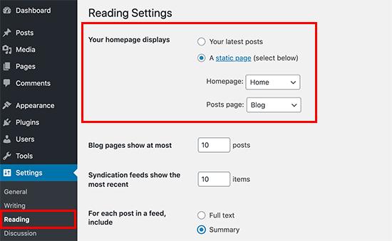 Seleccionar blog y página de inicio