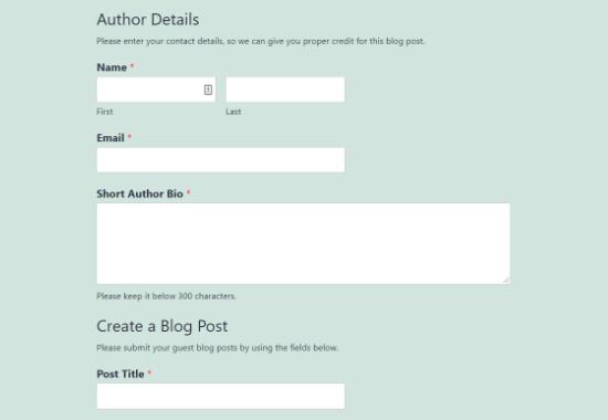 Ejemplo de formulario de envío de publicaciones