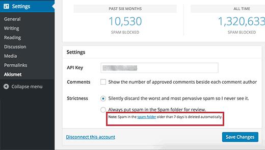 El programa de eliminación de spam de comentarios se muestra en la configuración de Akismet