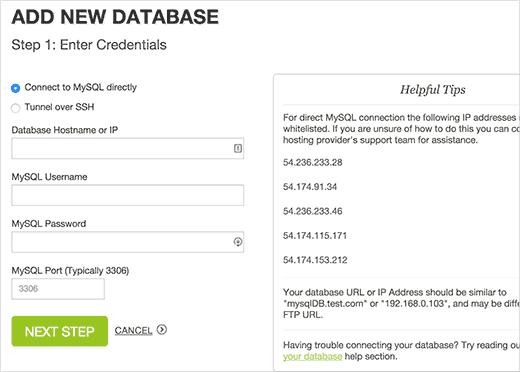 Agregar base de datos
