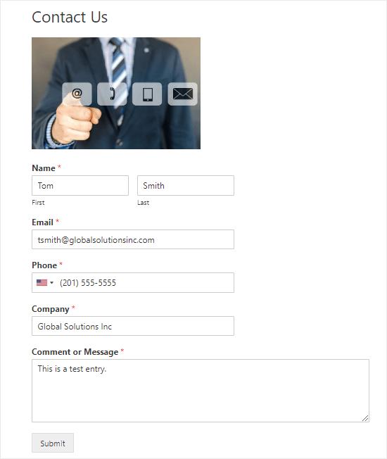 Enviar una entrada de prueba a través del formulario de contacto