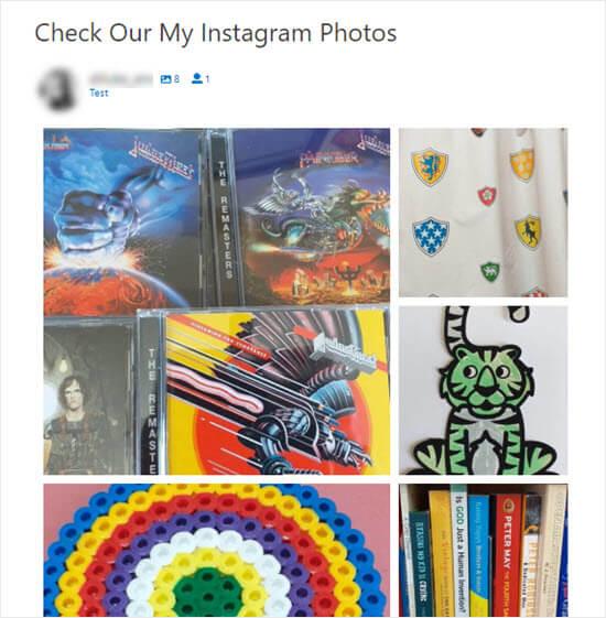 Las fotos de Instagram en el sitio, organizadas en un diseño destacado