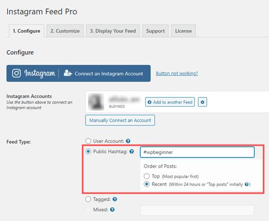 Cambiar a un feed de hashtag de publicaciones