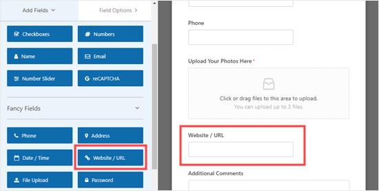 Agregar un campo de sitio web / URL al formulario