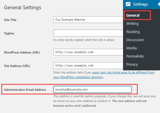 Verificar o cambiar la dirección de correo electrónico de administración de WordPress
