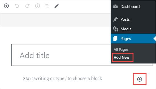 Crear una nueva página en WordPress y agregarle un nuevo bloque