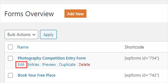 Editar un formulario que ya ha creado en WPFormsv