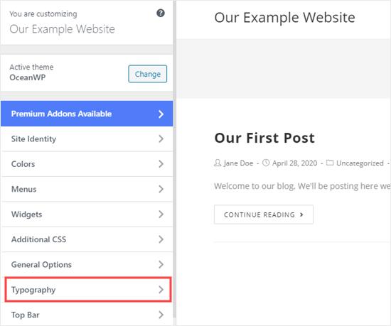 Seleccione 'Tipografía' o una opción similar en el personalizador de temas