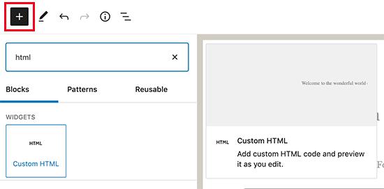 Agregar un bloque HTML personalizado en WordPress
