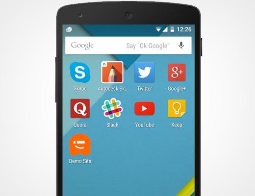 El icono del sitio se muestra como el icono de la aplicación en la pantalla de inicio de un dispositivo móvil