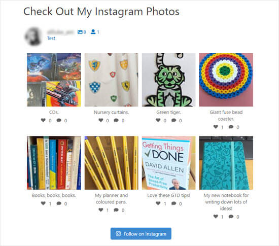 Ver sus fotos de Instagram en su sitio