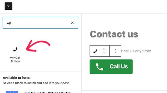 Agregar botón de llamada usando el editor de bloques