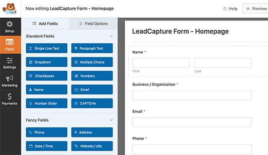 Generador de formularios WPForms