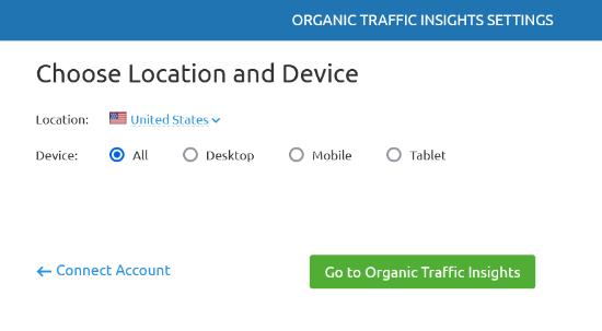 Elija ubicación y dispositivo