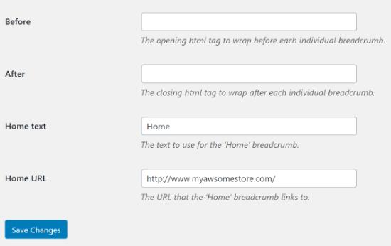 Más configuraciones de WooCommerce Breadcrumbs