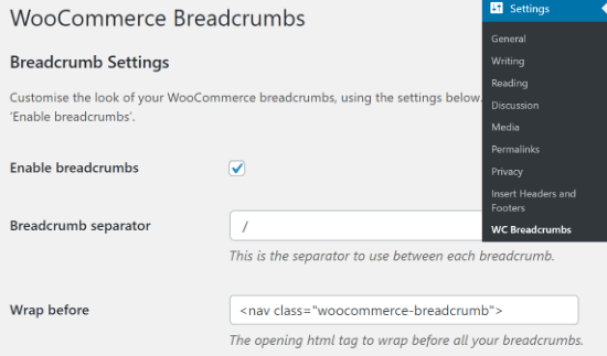 Habilitar las migas de pan de WooCommerce