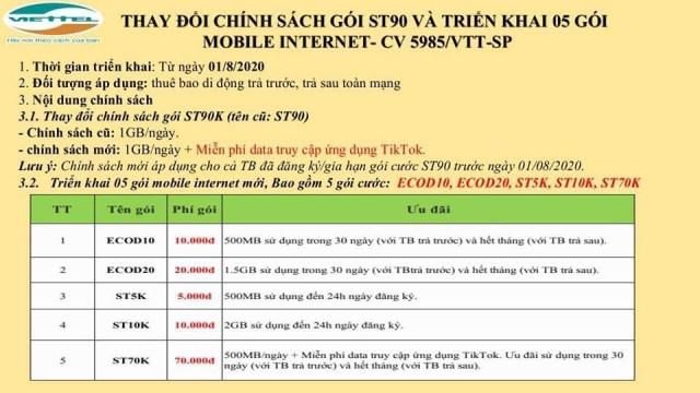 Viettel ra mắt thêm 5 gói 4G Mới: ECOD10, ECOD20, ST5K, ST10K, ST70K