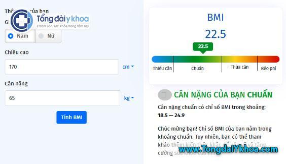 tinh BMI tinh chi so BMI cong thuc tinh BMI calculator