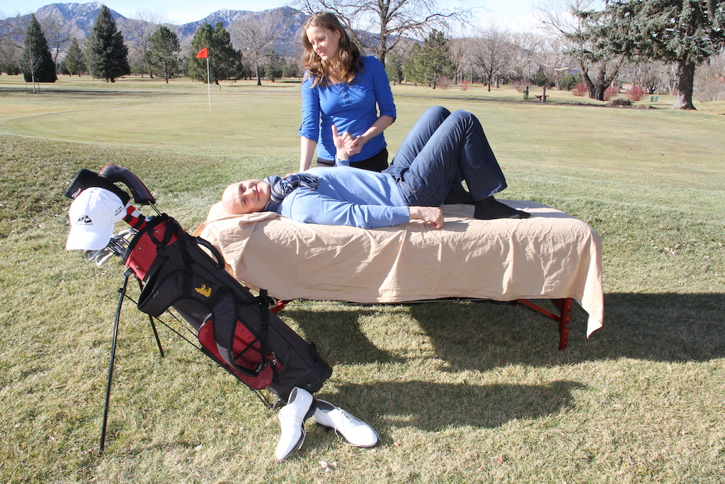 assisted stretching and manual therapy for golf in Denver Massage golf swing