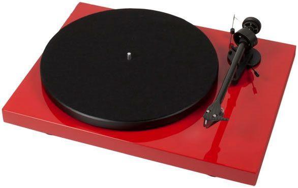 Debut Carbon Plattenspieler in rot-hochglanz mit Ortofon Tonabnehmer 2M Red.
