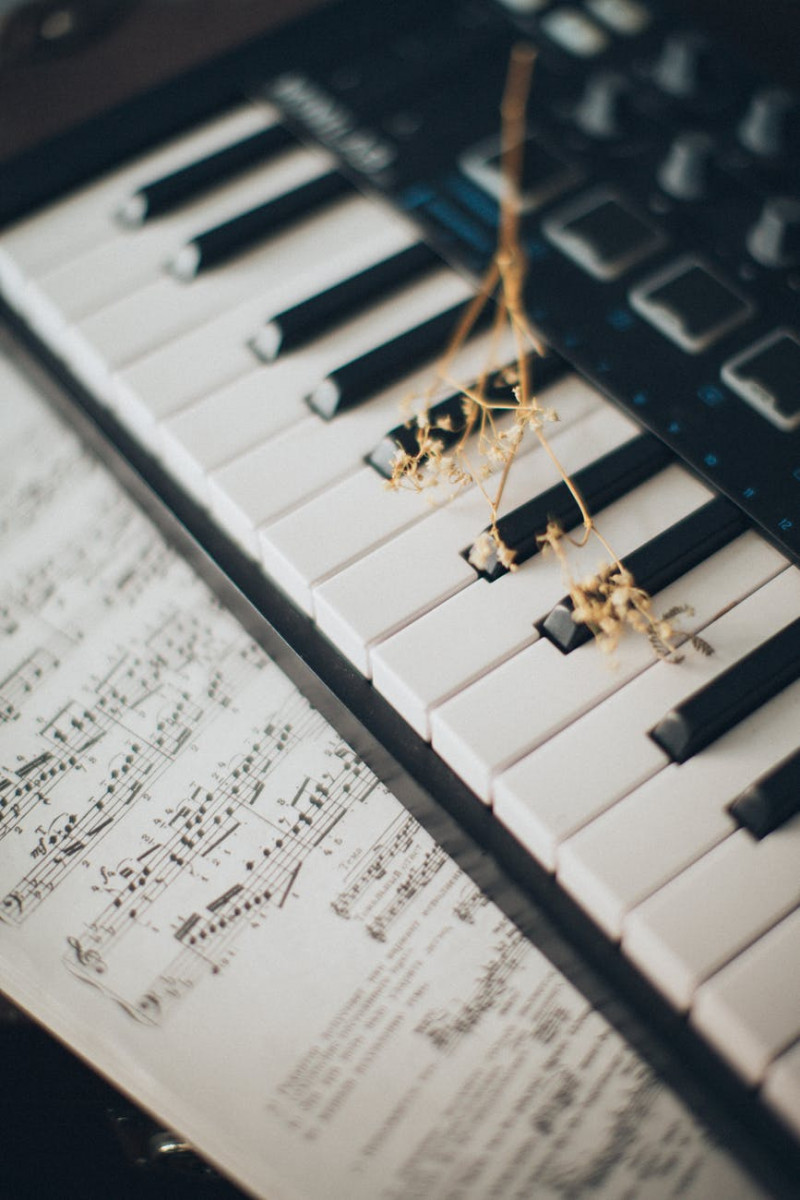 musical notes on piano keys