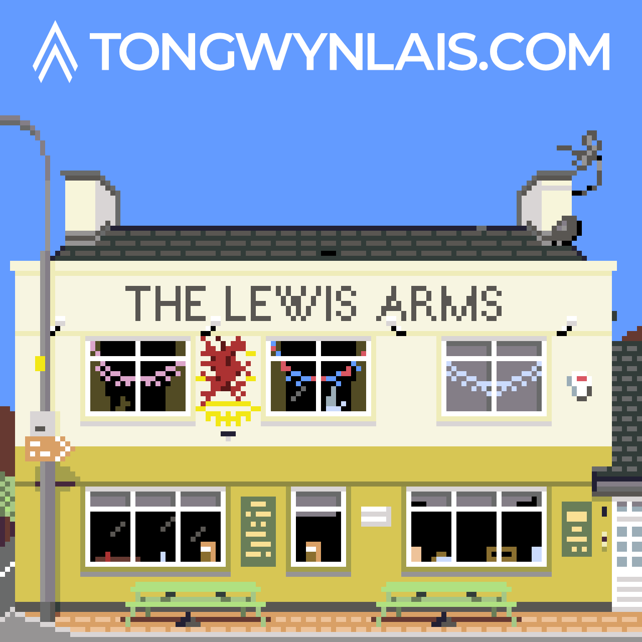 Pixel art illustration of The Lewis Arms