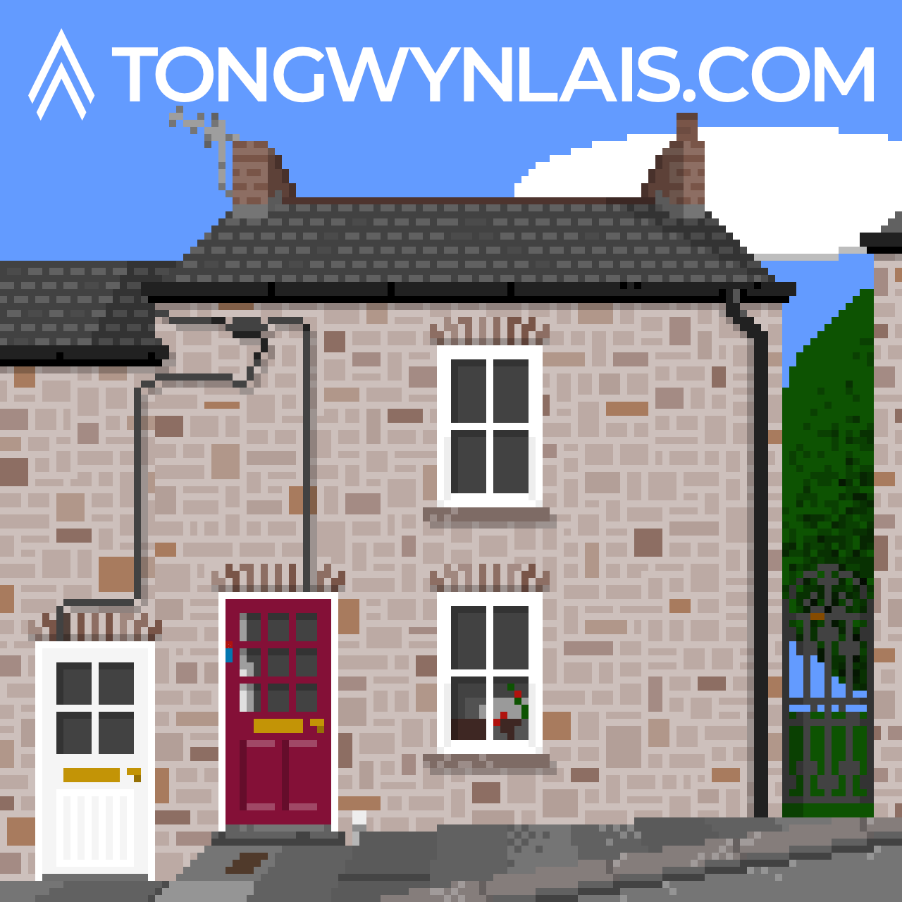 Pixel art illustration of a cottage