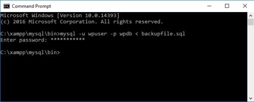 Restoring MySQL database for WordPress via command line