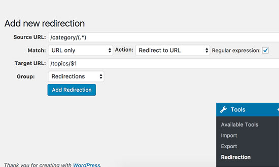 Setting up redirect after changing category prefix