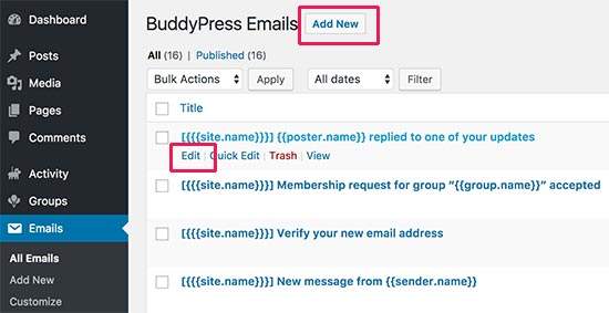 Edit email notifications in BuddyPress