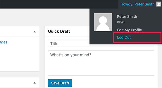 Log out link in WordPress admin bar