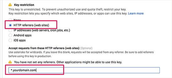 Restrict API key