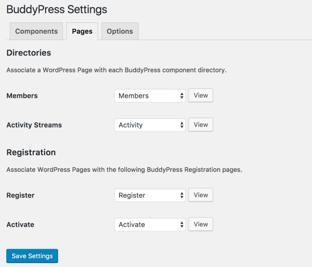 BuddyPress pages screen