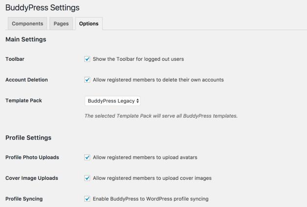 BuddyPress options screen