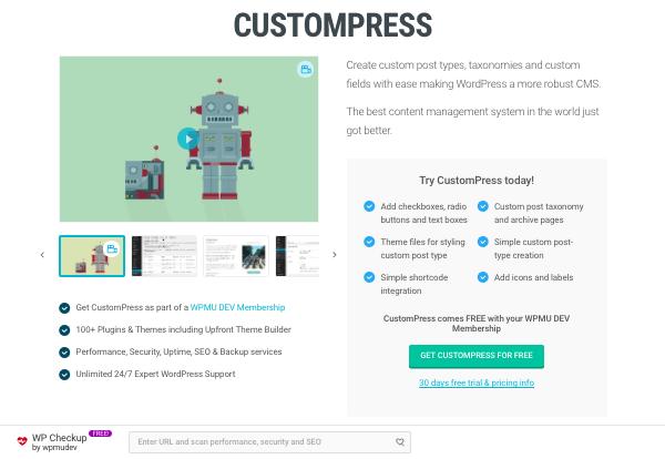 CustomPress plugin on WPMU DEV website